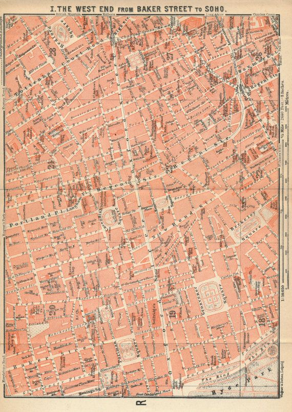 1930 antique london street map west end by figure10