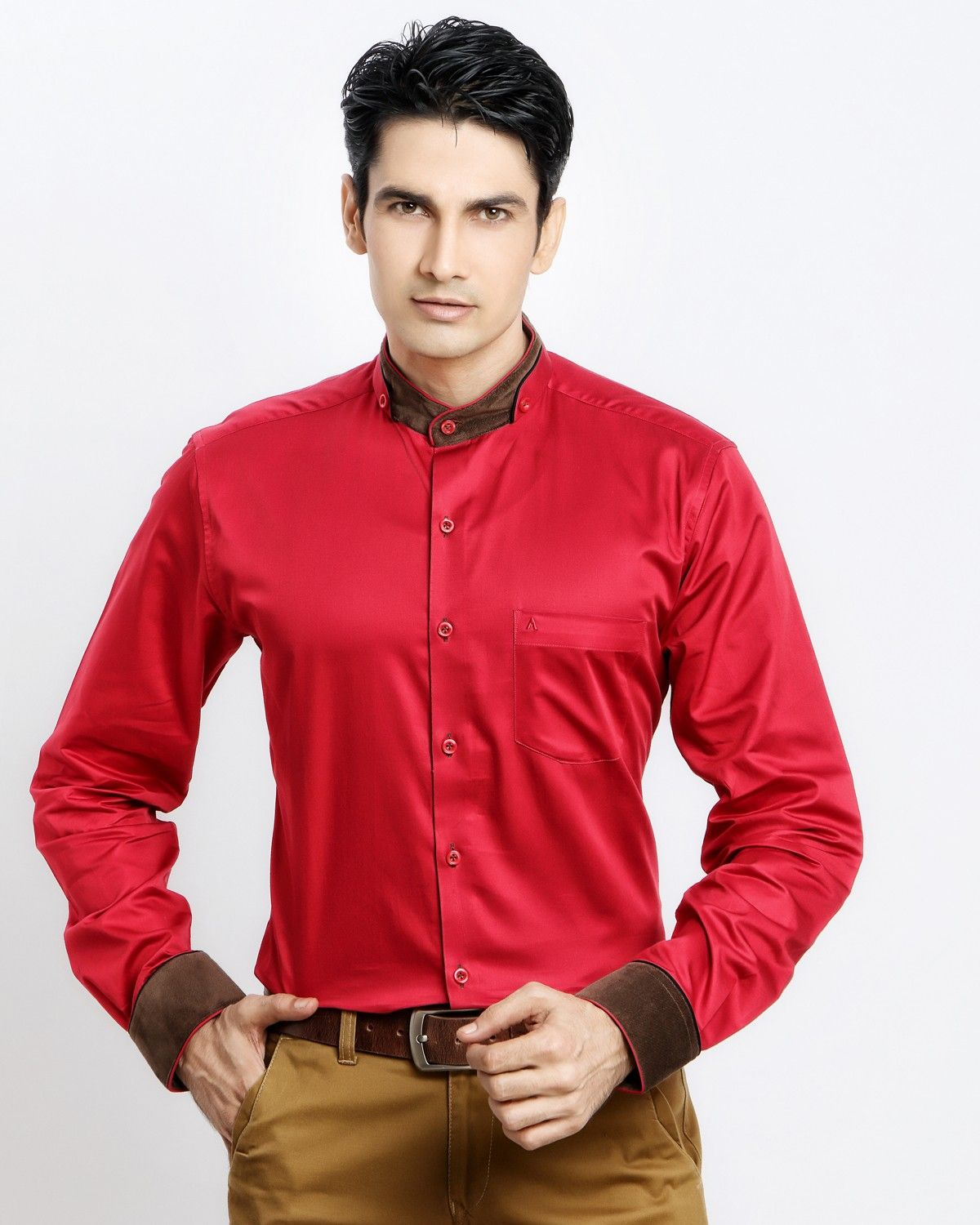 19690eff1 DOUBLE CHINESE COLLAR RED SHIRT Jaihind Retail