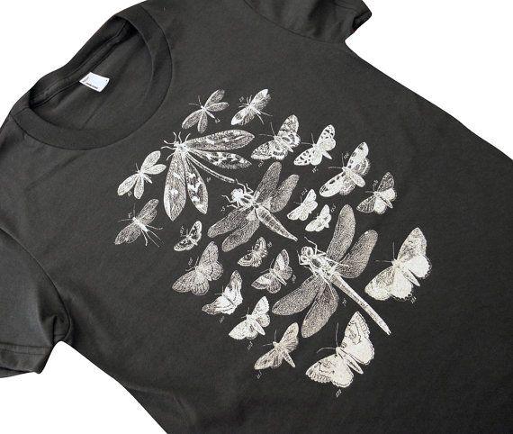 Schmetterling Schmetterling Libelle T-Shirt - geflügelte Insekt Sammlung American Apparel Damen Shirt - (erhältlich in den Größen S, M, L, XL)