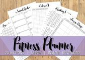 Printable A4 Fitness Planner - 20 SECTIONS - Black and White - Diet Exercise & Weight Loss Tracker H...