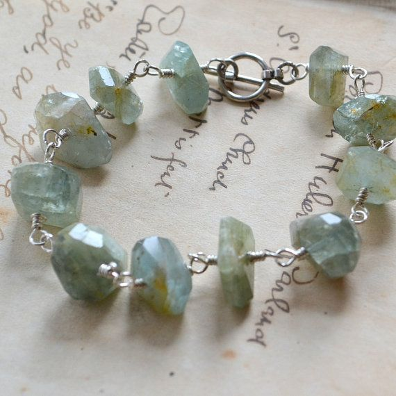 silver wire wrapped aquamarine bracelet