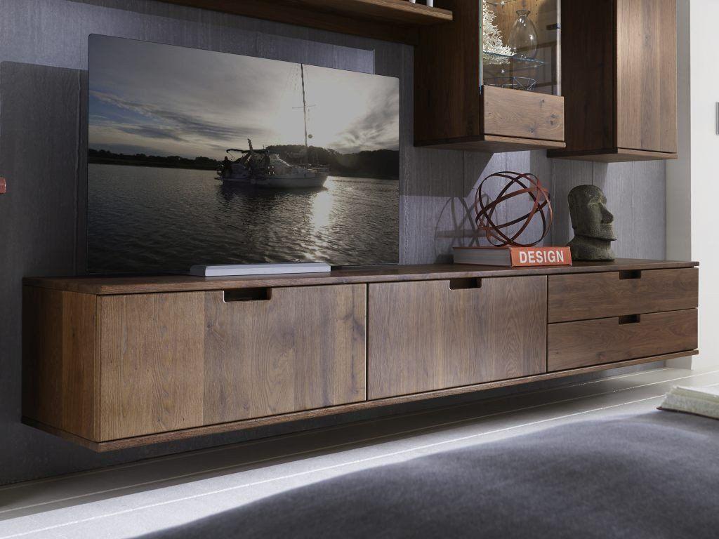 Tv Lowboard Massiv Holz Mit 2 Schubladen Und 2 Klappen Bestellen