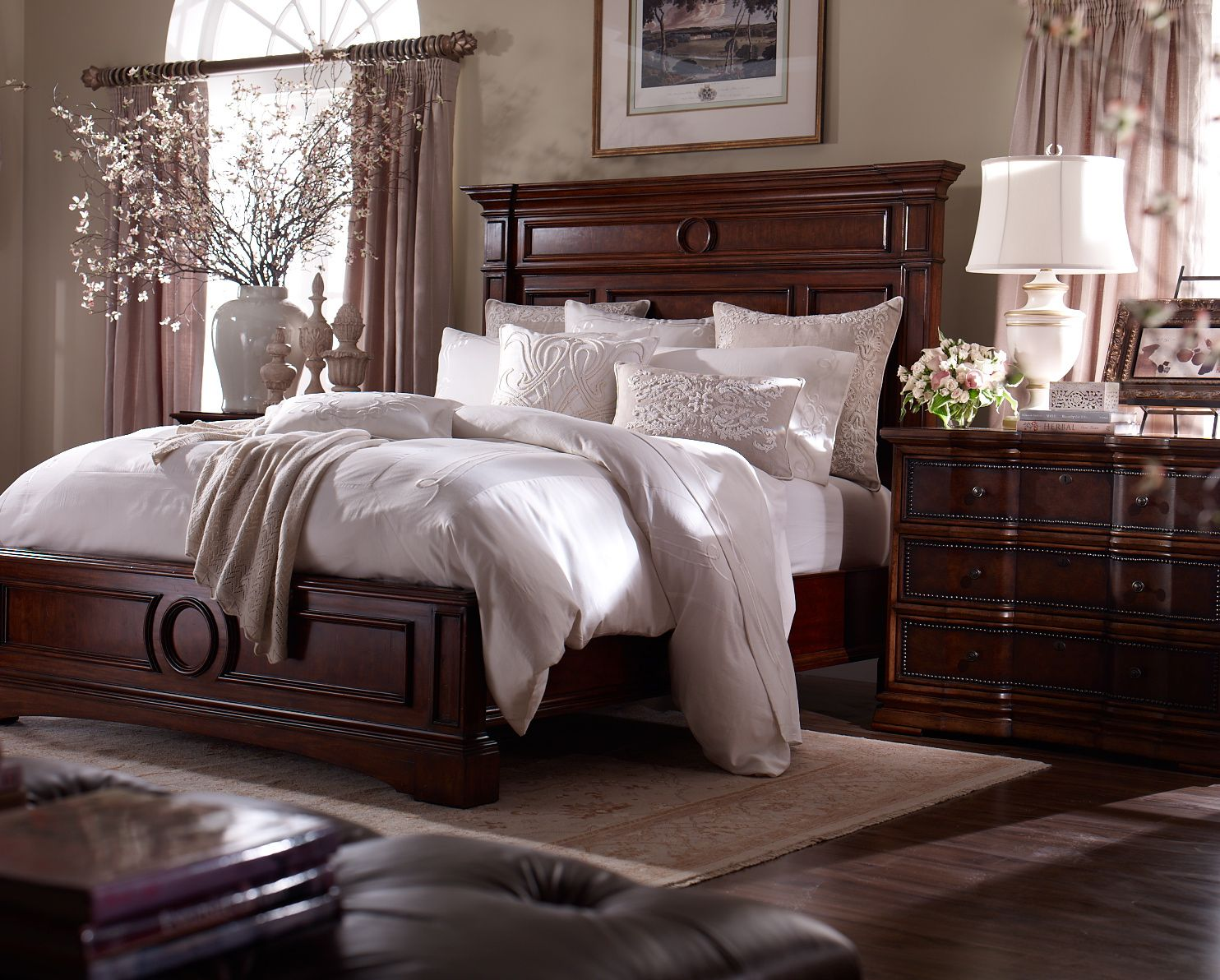The Warwick Bed by Ethan Allen is a masculine style with strong moldings  and recessed panels. It is softened by the circular motif on the headboard  and ...