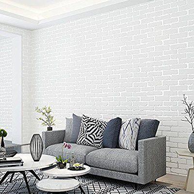 Kinlo 5 0 53m Papier Peint Brique Blanc 3d En Intisse Sticker Mural
