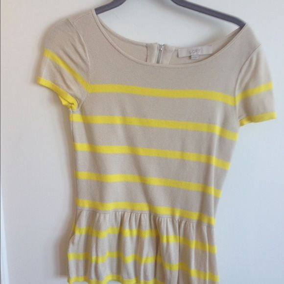Yellow and tan striped peplum top LOFT Only worn once - size XS sweater peplum top from LOFT. Super soft and comfy! Perfect for spring! LOFT Tops