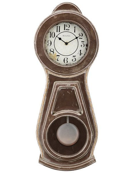 Bulova Guilford French Country Style Rustic Pendulum Wall Clock