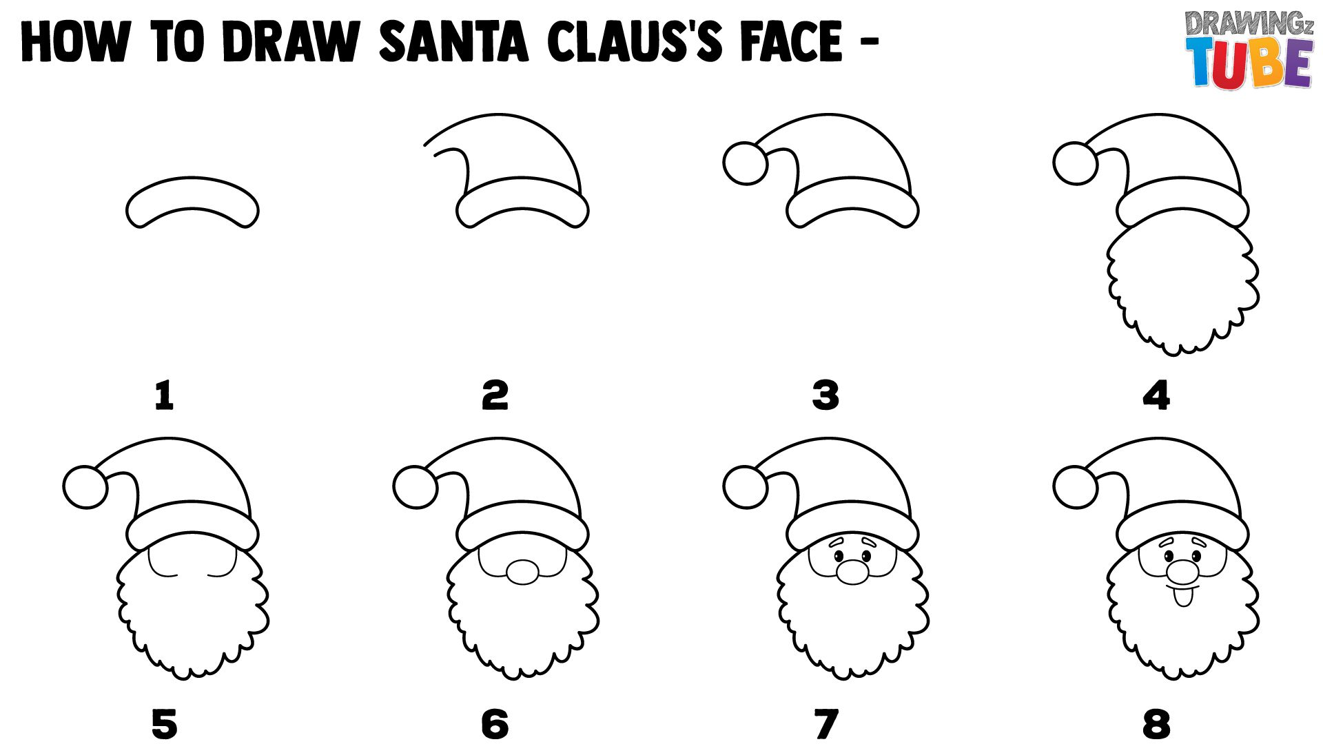 How To Draw Cute Santa Claus's Face For Kids Step by