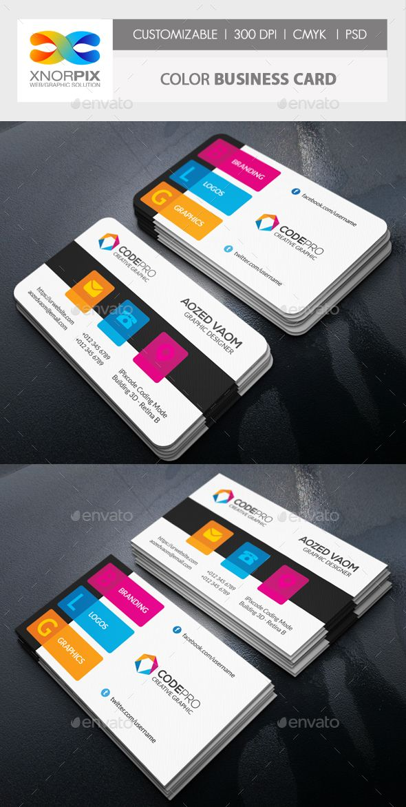 Color Business Card | Corporate business, Business cards and Business