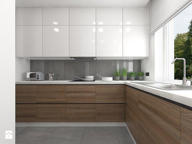 Wnętrze mieszkania na Teofilowie Duża otwarta kuchnia w kształcie