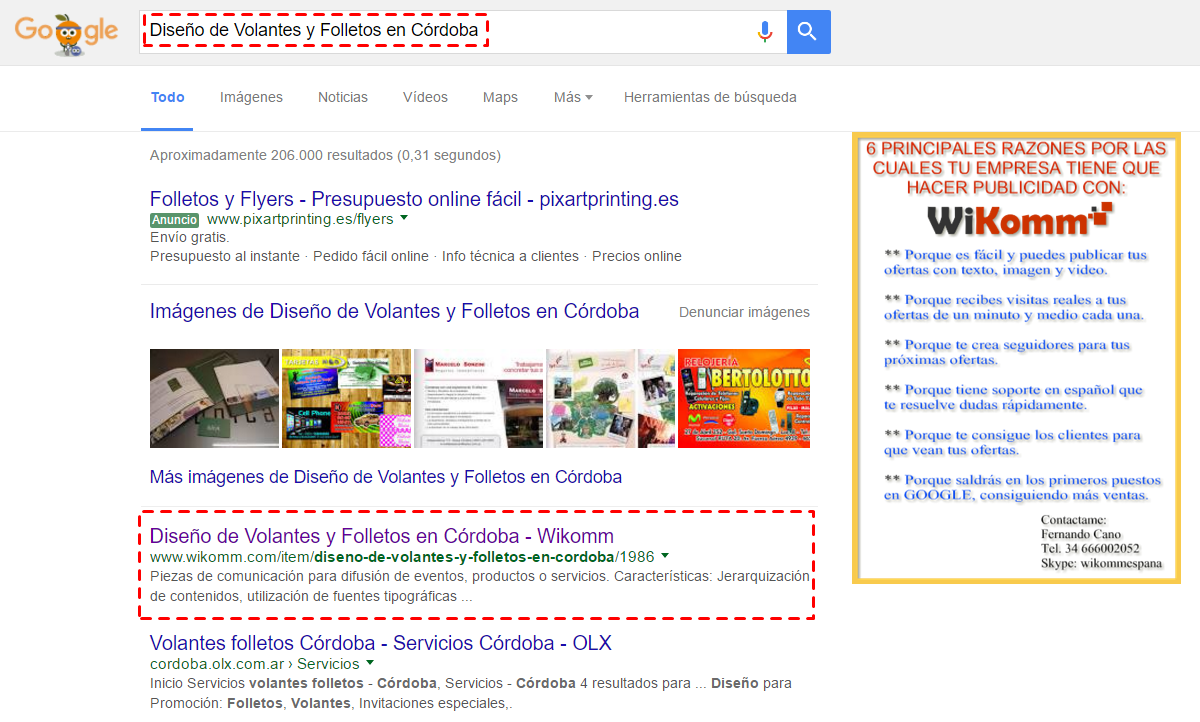 """De 206.000 resultados """"Diseño de volantes y folletos en Cordoba"""" está posicionada en el puesto 1 de la primera página de los resultados de búsqueda."""