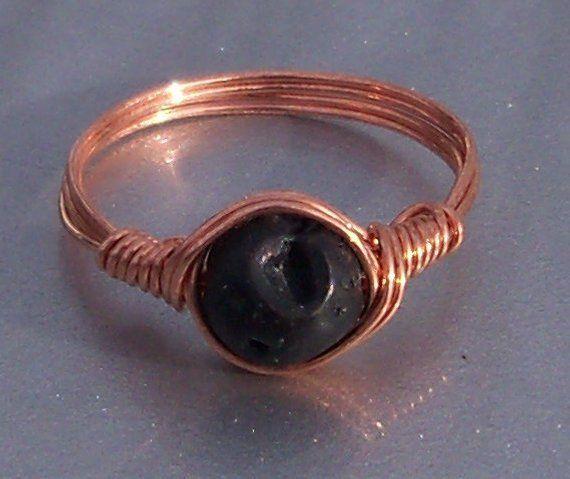 Copper Wire Wrap Ring Lava Gemstone