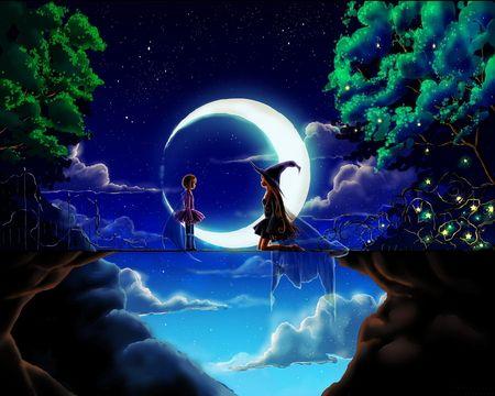 Magic Night Anime Girls Magic Moon Night Splendor Iskusstvo Iskusstvo Animacii Fentezi