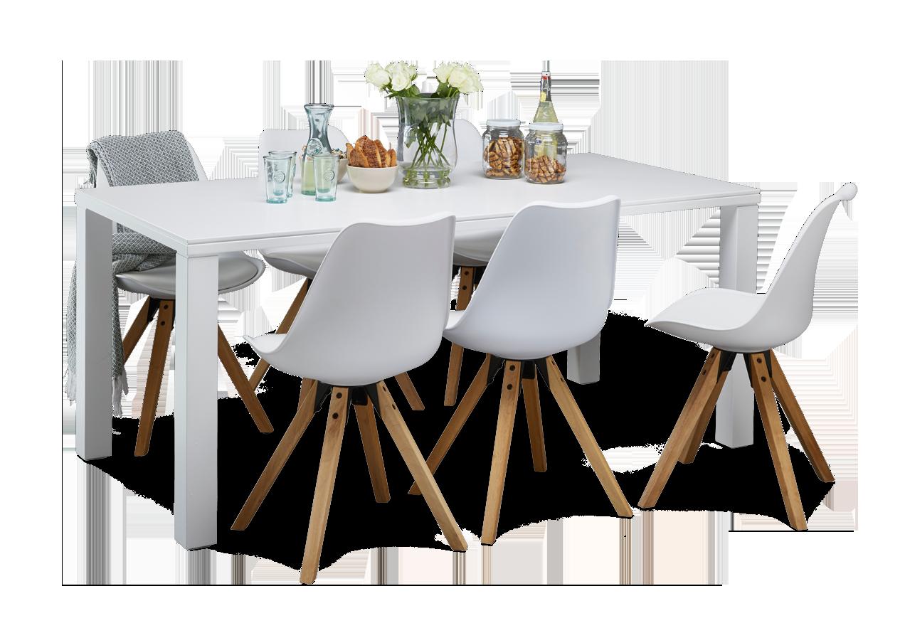 GROOVE-ruokapöytä ja 6 LOGAN-tuolia 90 x 180 cm
