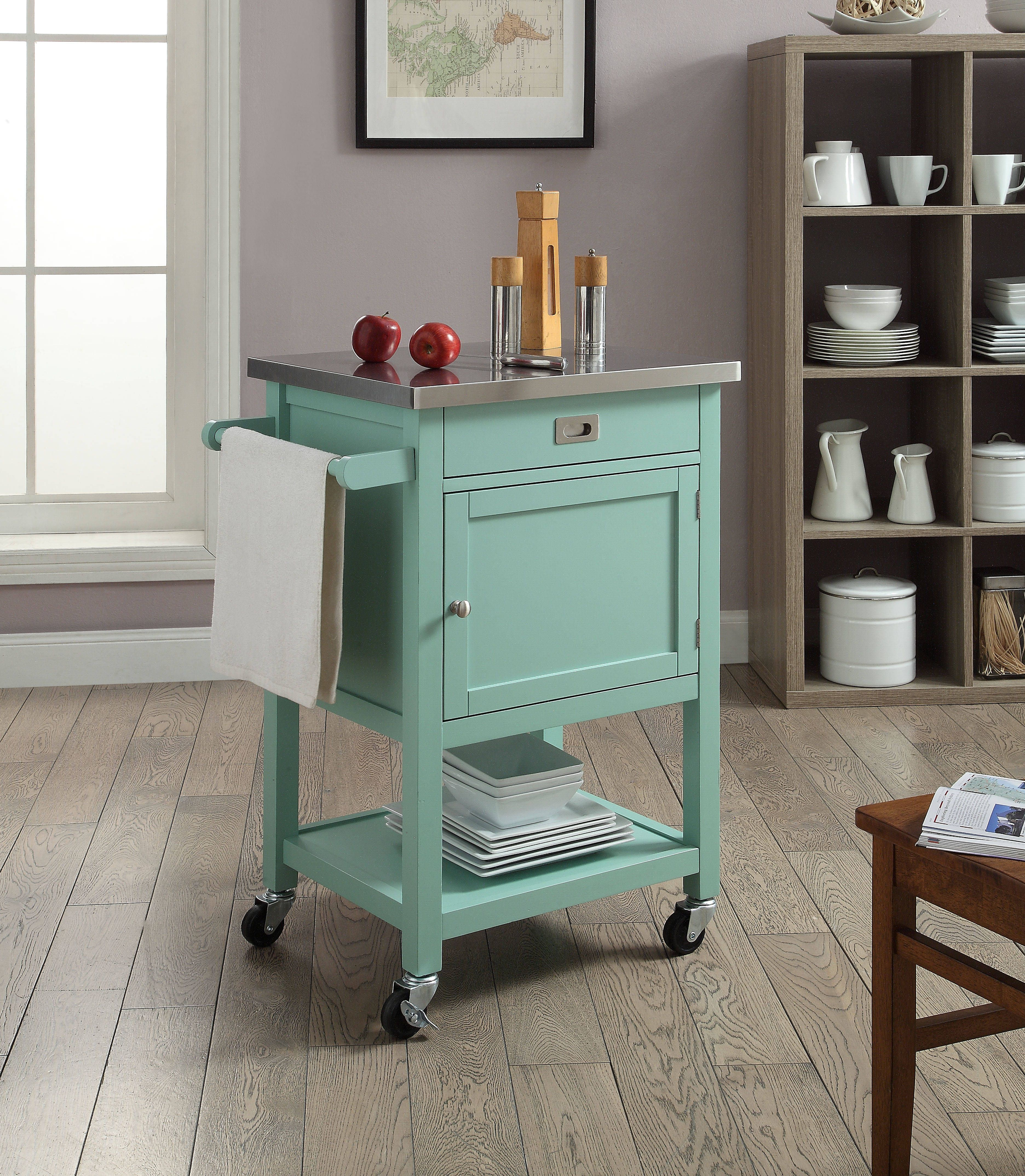 Sydney Green Pine Wood Stainless Steel Caster Apartment Cart ...