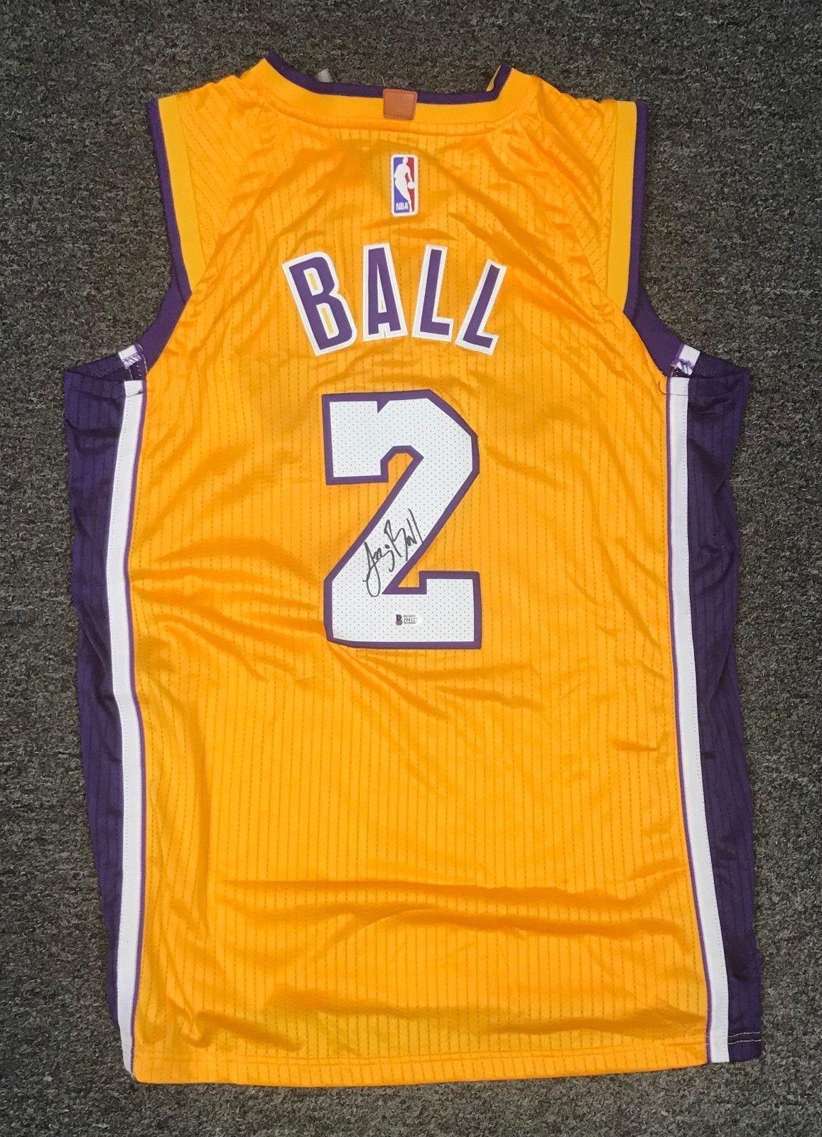ac4393978541 42344 Lonzo Ball  2 Signed Lakers Jersey Sz 50 Beckett BAS WITNESSED COA   Basketball