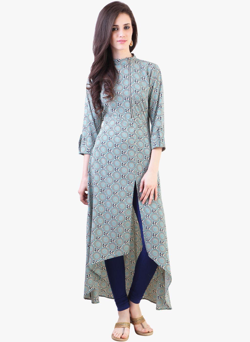 Blue printed kurta woman clothing pinterest dresses kurti and