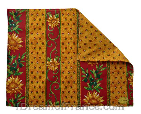 Le Cluny Coated Reversible Placemat Sunflower Red Acrylic Coated For Easy Care Provencal Style Provence Style Placemats French Inspired