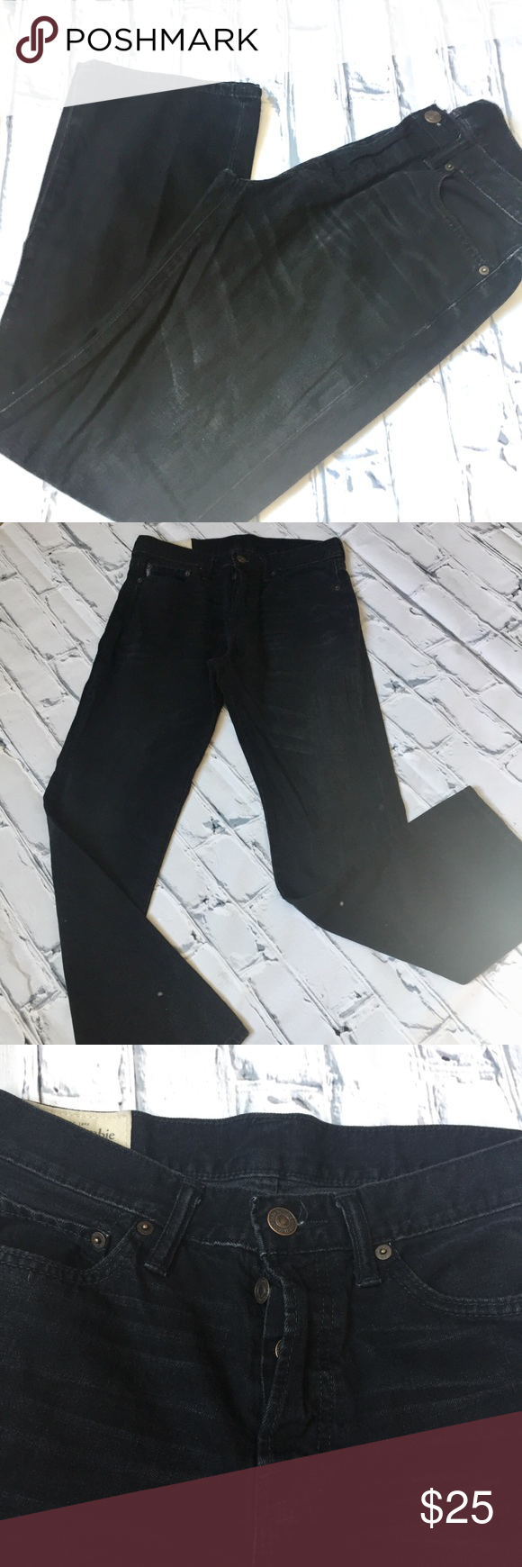Abercrombie & Fitch Black Button Fly Jeans. Abercrombie & Fitch Black Faded Button Fly Jeans.  Straight Fit. Abercrombie & Fitch Jeans Straight