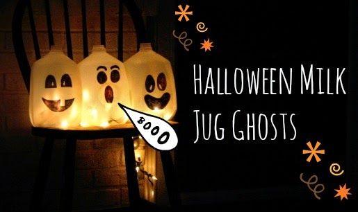 How to Make Halloween Milk Jug Ghosts (Hallows' Craft) via geniusknight.blogspot.com holidayknight