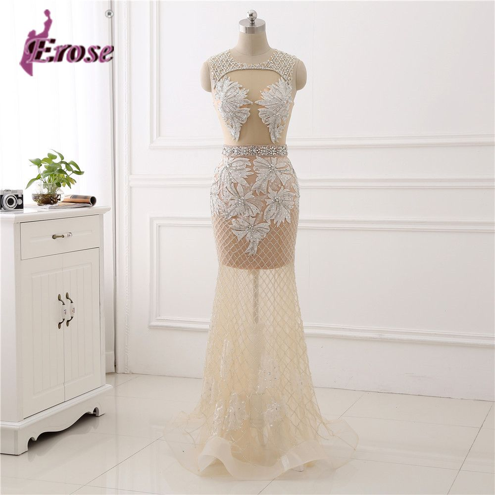 Click to buy ucuc sexy seethough back beaded long prom dresses