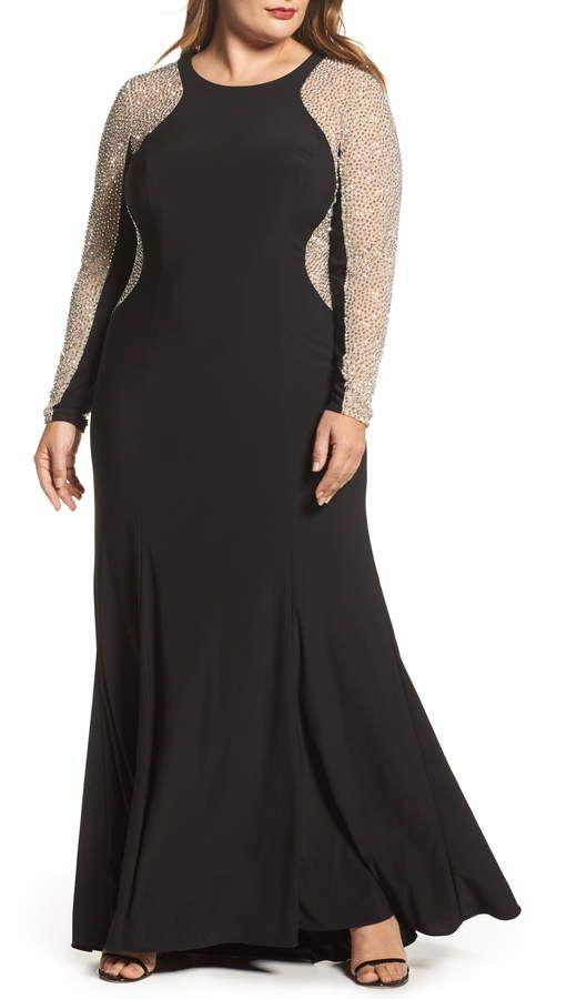 b6ef93b7bdb Plus Size Women's Xscape Embellished Jersey Gown, Size 22W - Black ...