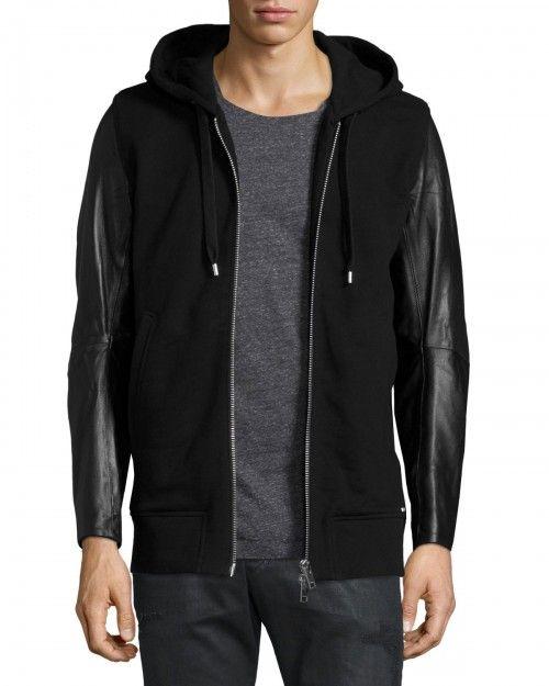 86938cf480e7 Diesel Mifun Fleece Zip Up Hoodie with Leather Sleeves Black