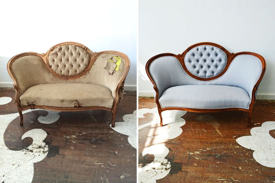 A beautiful Victorian love seat freshly reupholstered in