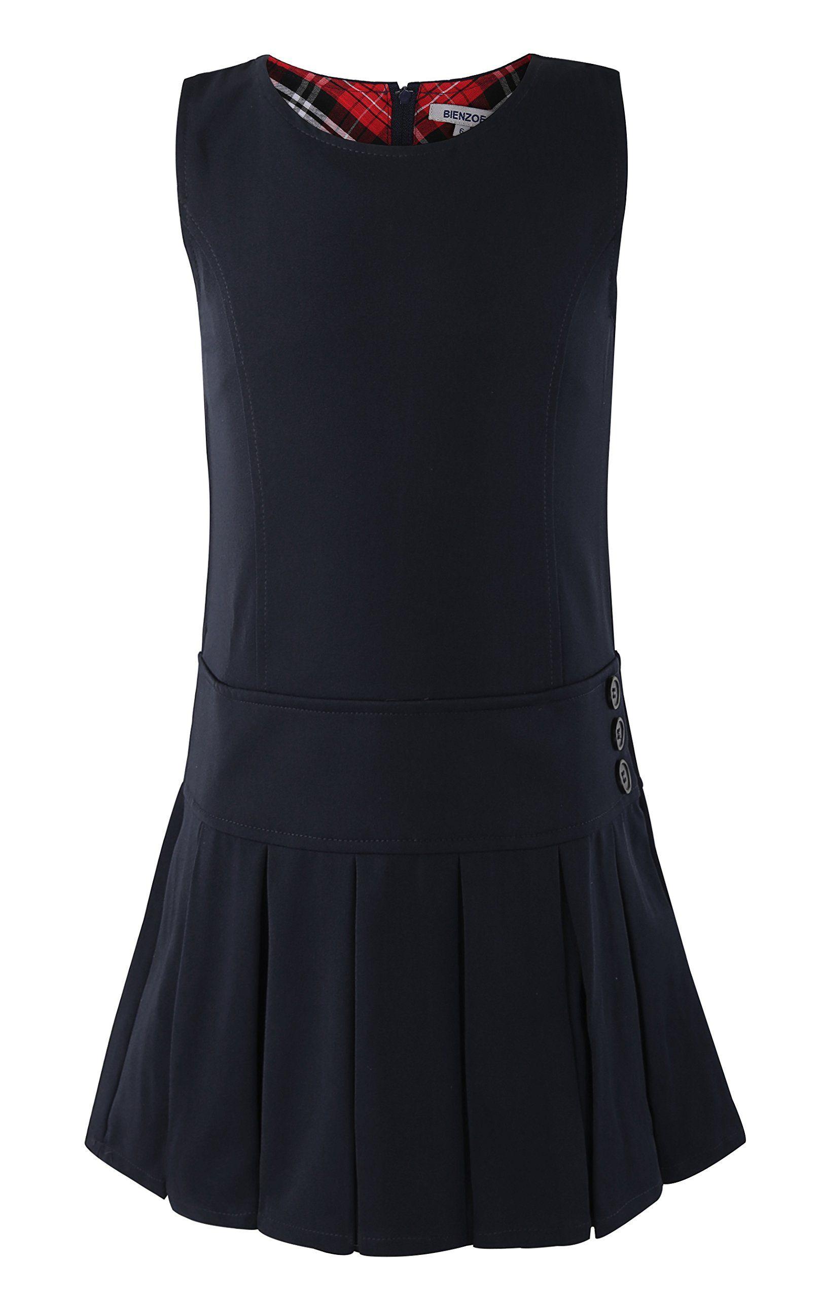 Bienzoe Girls School Uniform Pleated Jumper Dress