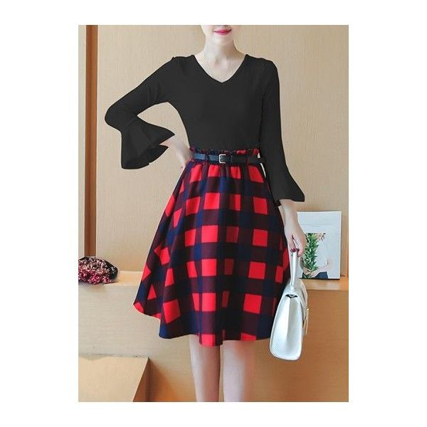 Rotita Lace Up Back Top and Plaid Skirt (€28) ❤ liked on Polyvore featuring skirts, black, high waisted plaid skirt, high-waist skirt, high-waisted skirts, high waisted tartan skirt and print skirt