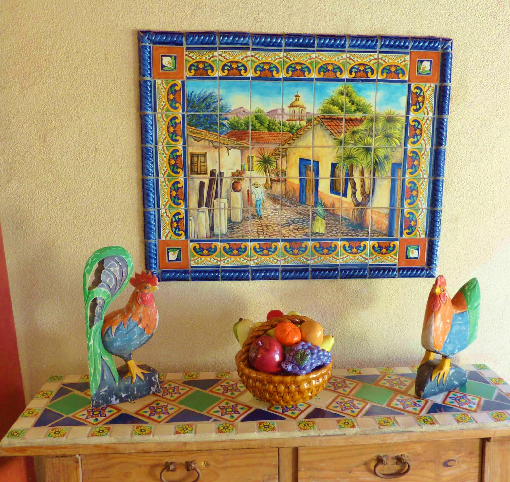 Mexican Tile Mural And Rustic Wooden Side Table.
