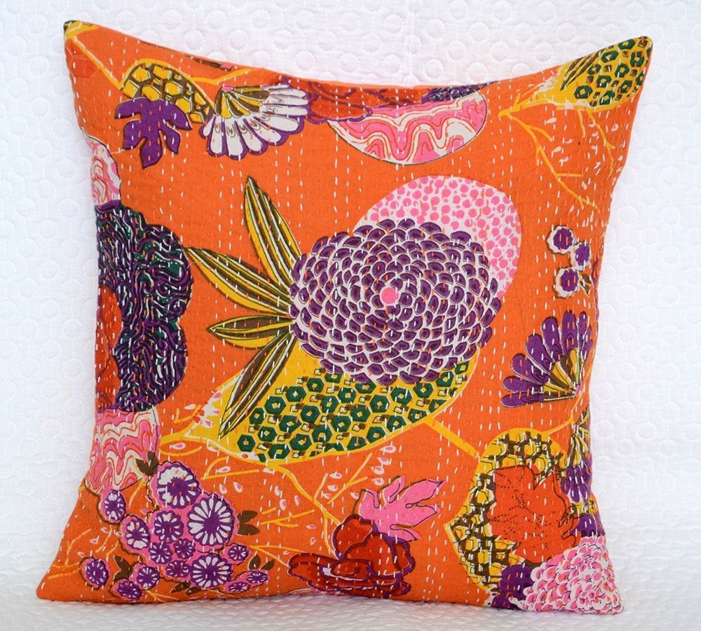 """Indian Cushion Cover Kantha Stitch Abstract Pattern Throw Ethnic Pillow Case 16/"""""""