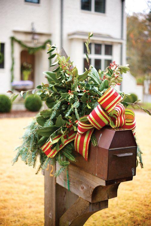 2014 Christmas pine cone nch metal mailbox cover decor with plaid flower - Christmas Mailbox Decorations Christmas Decorating Ideas & Top 12 Rustic Christmas Mailbox Designs u2013 Easy Backyard Garden Decor ...