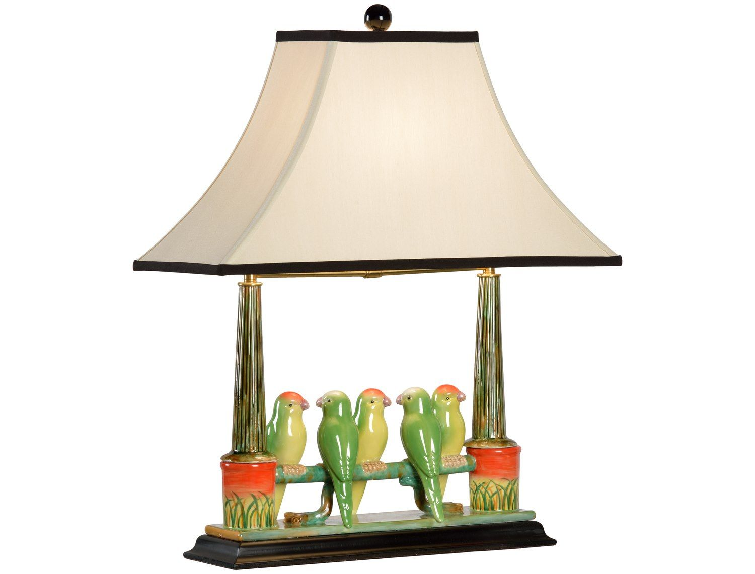 Wildwood lamps newport mansion collection budgies fired ceramic table lamp wl60353