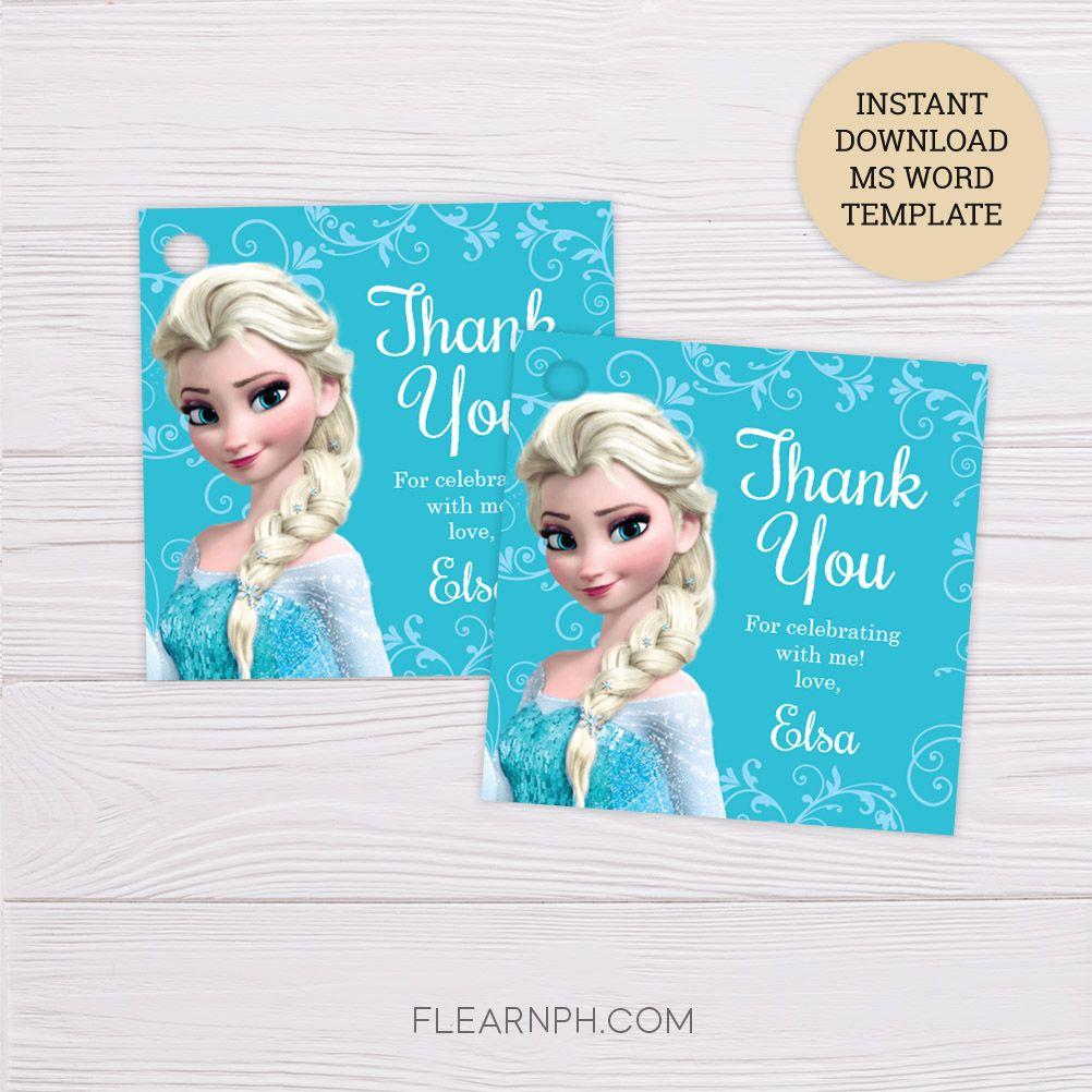 Frozen Elsa Thank You Card Template Dgtally Thank You Cards Thank You Card Template Cards