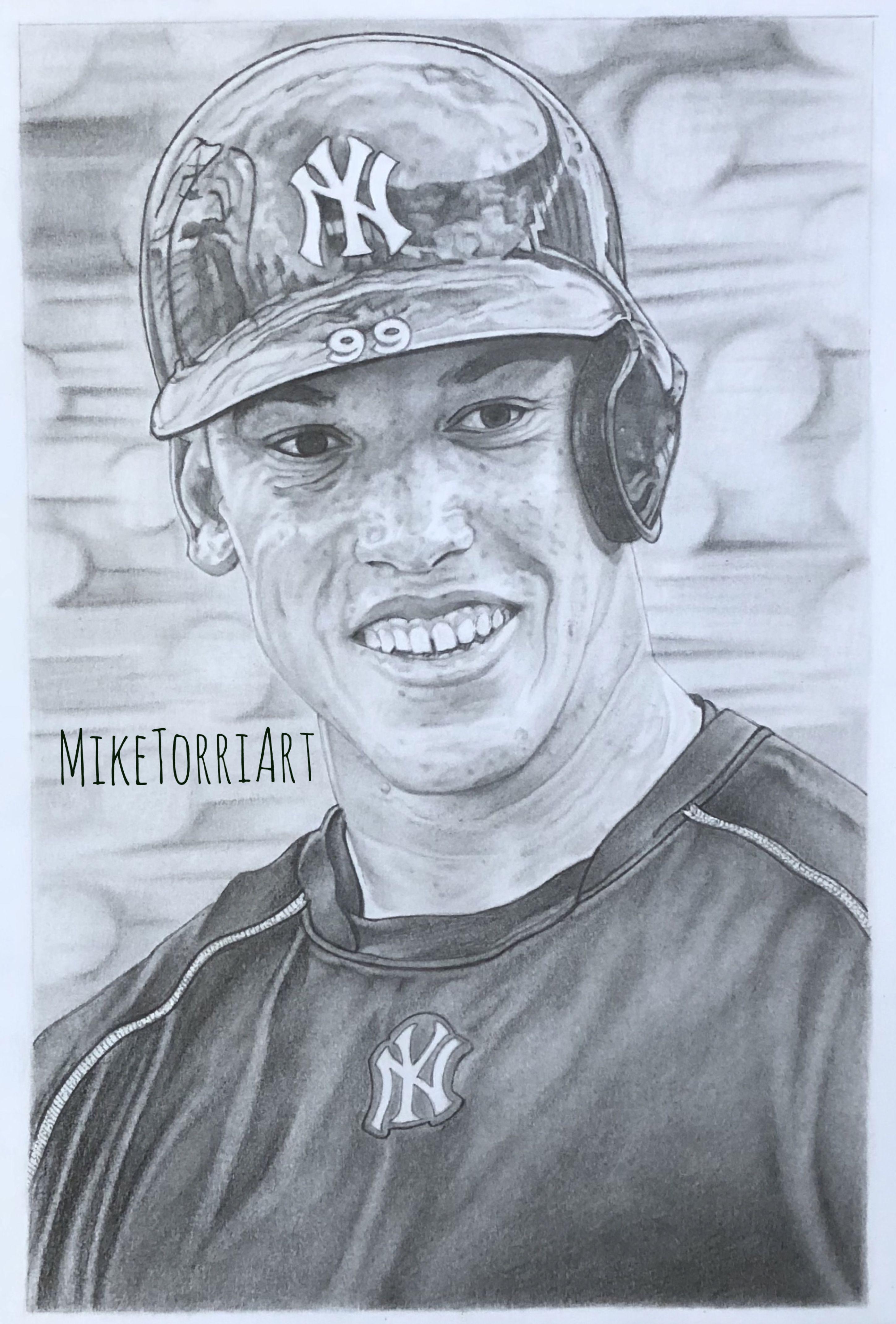 Pencil Drawing Of New York Yankees Slugger Aaron Judge Aaronjudge Yankees Bronxbomber Miketorriart Painted Hats Colored Pencil Portrait Print