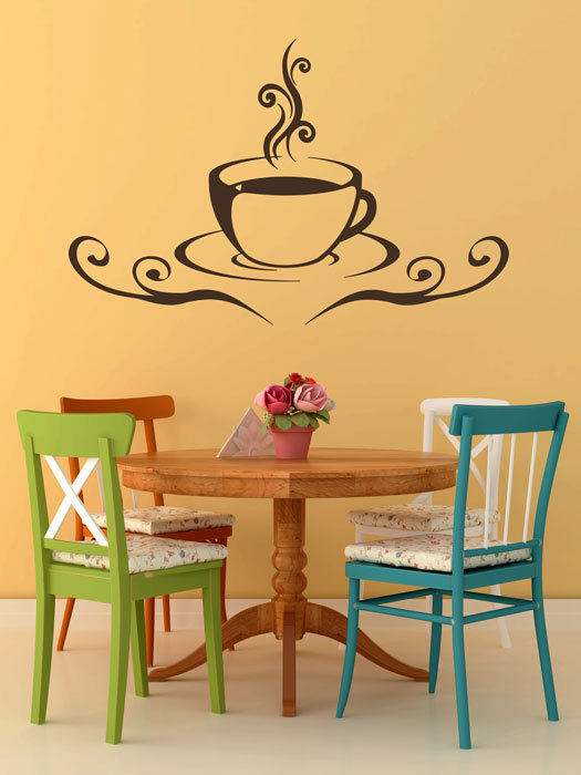 Coffee Cup With Decoration Wall Decal Decor | Coffee cup, Wall ...