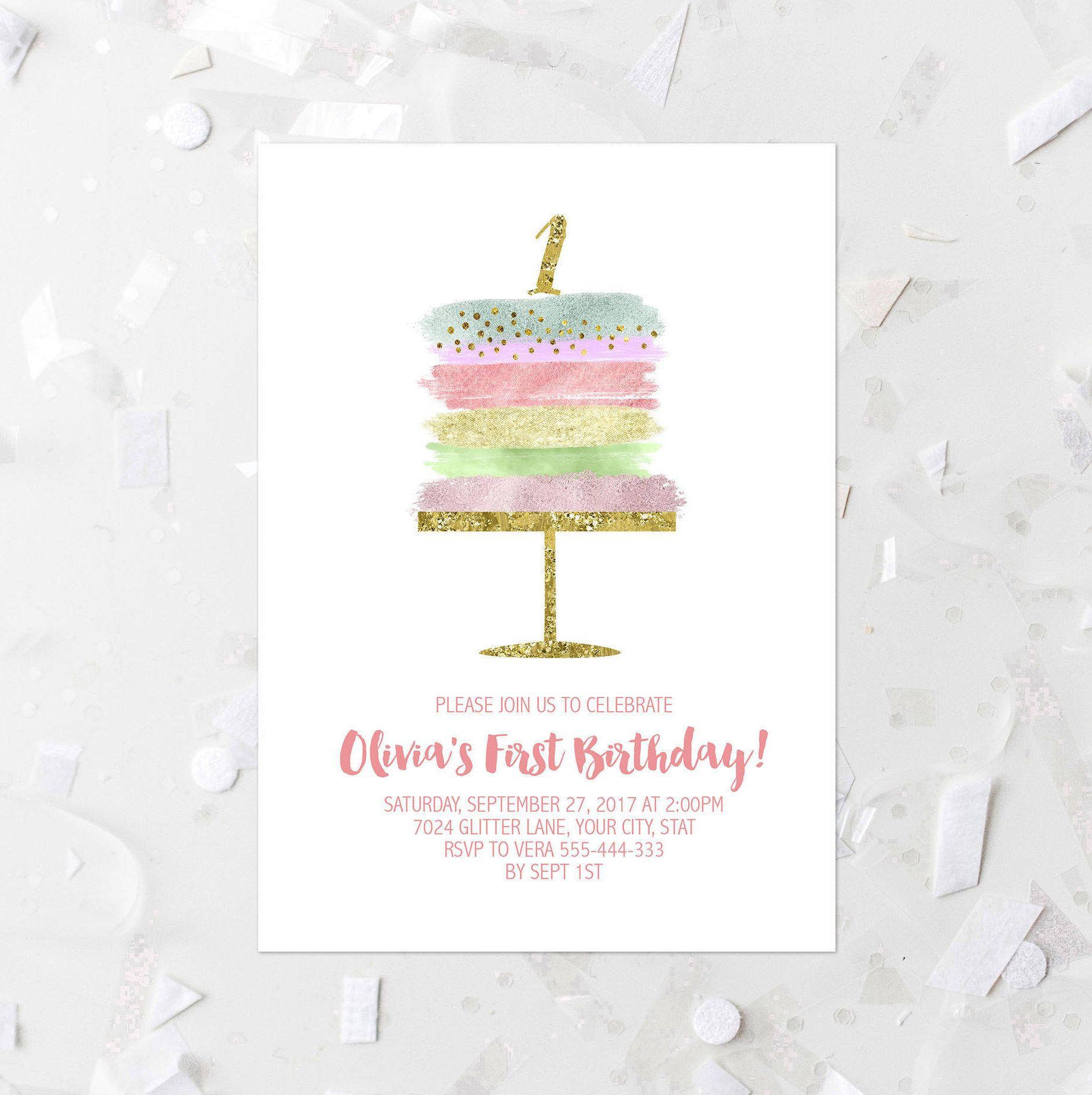 First Birthday Party Invitation Printable 1st 2nd 3rd Birthday Cake ...