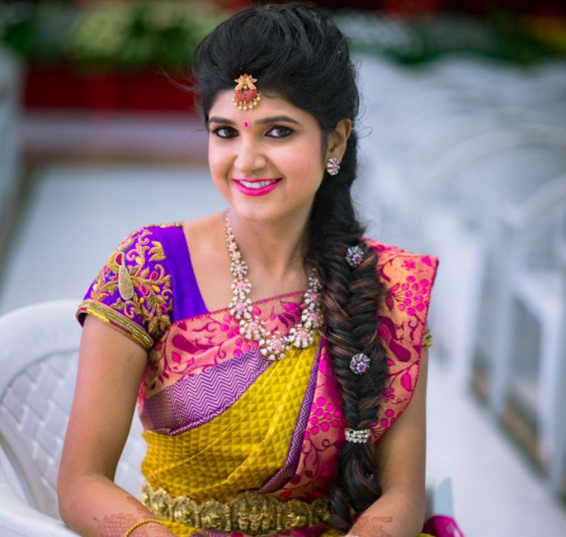 Hairstyle For Bride On Saree: #Colourful : Amazing Bridal Silk Sarees Worn By The Bride