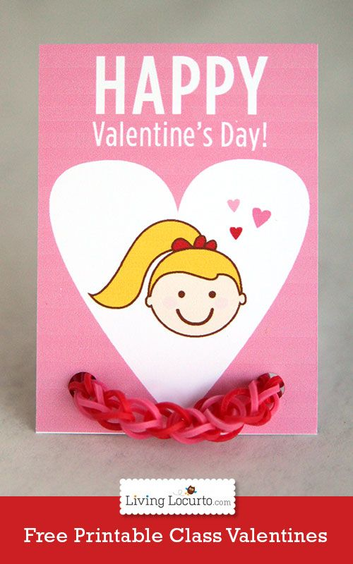 cute free printable rainbow loom bracelet valentines day card by livinglocurtocom - Valentines Day Bracelet