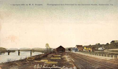 Scottsville-Pennsylvania-C-O-Railway-station-by-Burgess-antique-pc-Z21297