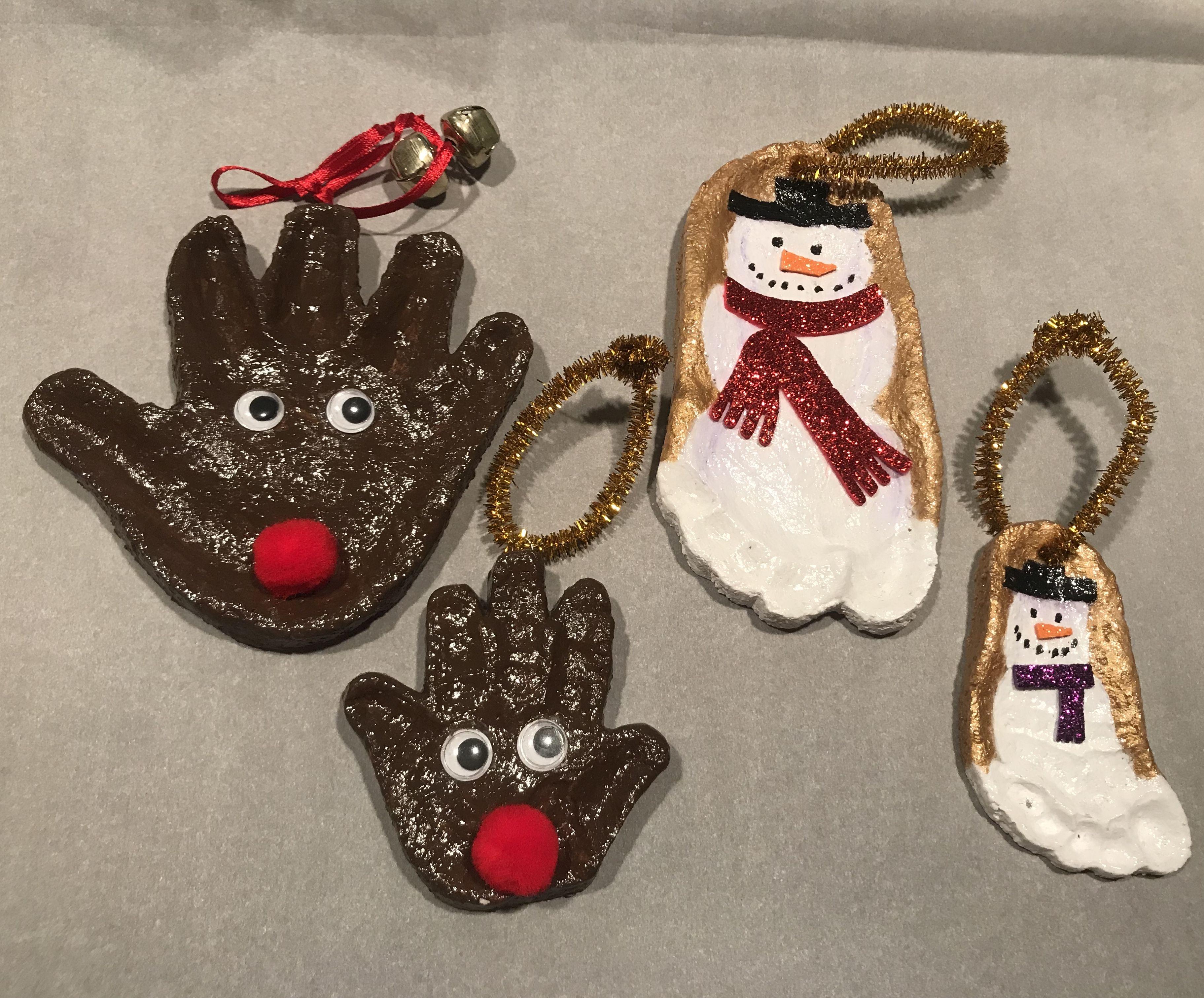 Reindeer Handprint Ornament Snowman Footprint Ornament Handprint Ornaments Kids Christmas Ornaments Reindeer Handprint