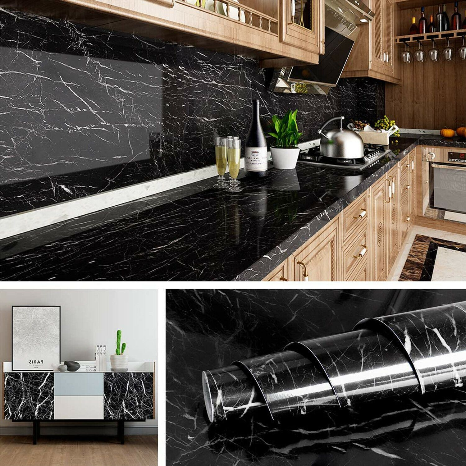 9 9ft Marble Contact Paper Self Adhesive Peel Stick Pvc Wallpaper Kitchen Film 732866657301 Ebay Marble Wallpaper Kitchen Wallpaper Marble Wall