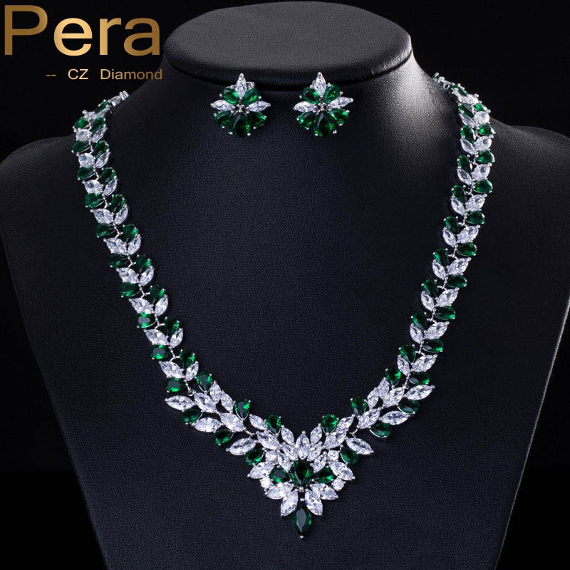 Classic Green Bridal Wedding Costume Jewelry African Nigerian CZ Simulated Diamond Big Necklace And Earrings Sets