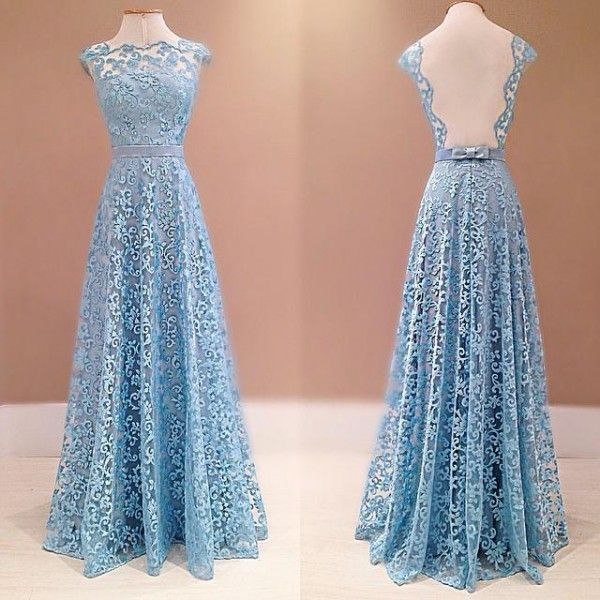 Outlet Blue A-Line Round Neck Lace Long Prom Dress, Outlet Lace ...