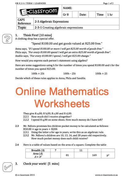 Grade 8 Online Mathematics Worksheets Algebraic Expressions For