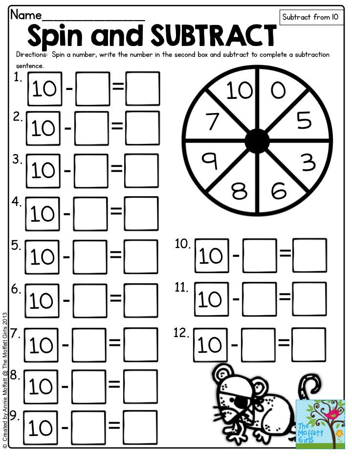 math worksheet : spin and subtract spin a number and subtract the number from 10  : Interactive Math Games For Kindergarten