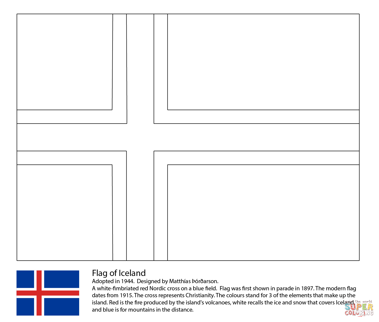flag of iceland coloring flag coloring pages