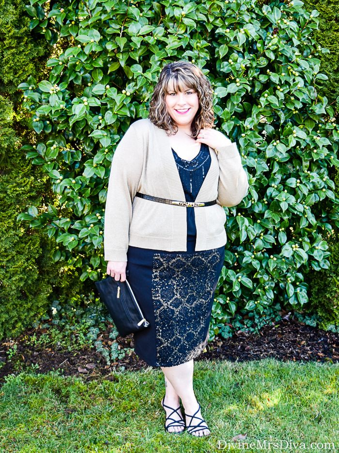 Hailey is wearing the Kiyonna Boucle Pencil Skirt for a shimmery and sexy date night look. - DivineMrsDiva.com #Kiyonna #KiyonnaStyle #KiyonnaPlusYou #psblogger #plussizeblogger #styleblogger #plussizefashion #plussize #psootd #ValentinesStyle #DateNight