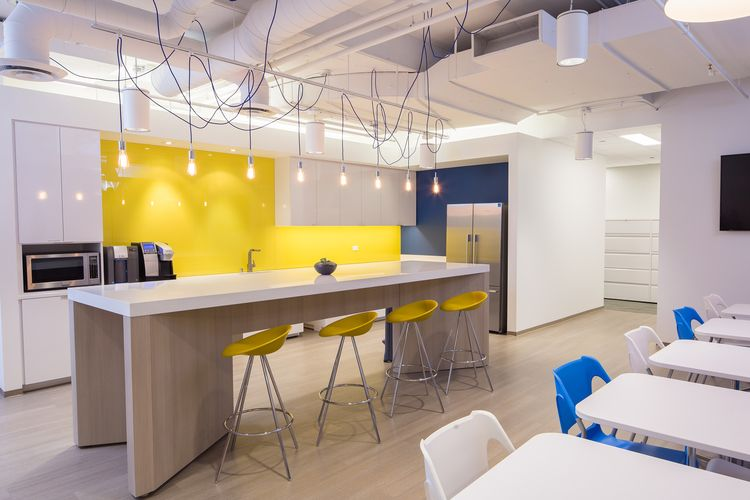 Open Ceilings Custom Island And Bold Colors Pop This Commercial Interior Break Room Design By Ewparch Break Room Design Office Break Room Back Painted Glass