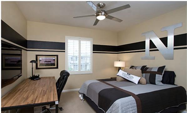 neutral minimalist teen boy bedroom love the metallic initial and stripes